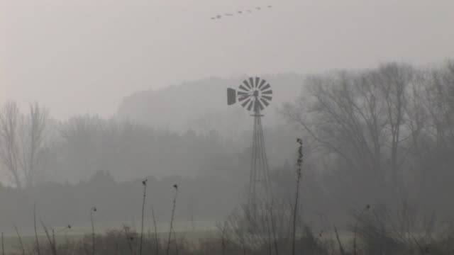 Windmill on a Foggy Morning 2 HD video