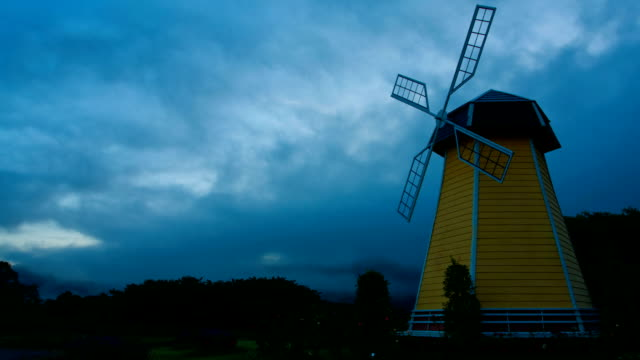 Windmill with fog video