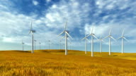 Windmills and autumn grass video
