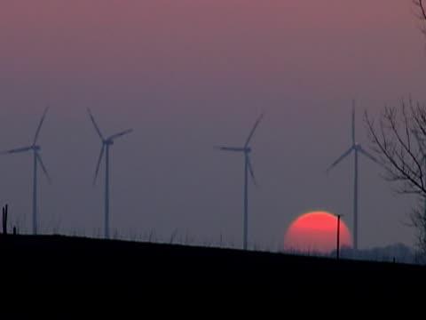 Windmills at sunset NTSC video