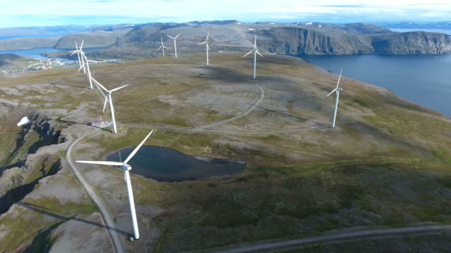 Windmills for electric power production Havoygavelen windmill park Norway video