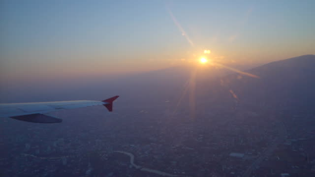 Window airplane Travel time is sunset video