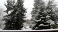 Window view with snow falling video