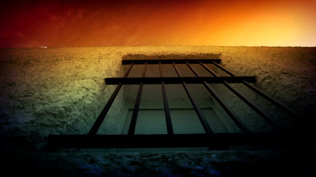 Window with bars, low angle view video
