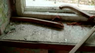 Windowsill in the abandoned house. Smooth and slow dolly shot. video