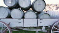 Wine Barrels on top of a carriage video