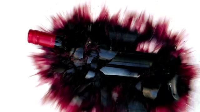 Wine Bottle Smashes On White Floor Surface video