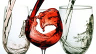 Wine pouring into glasses video