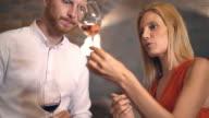 Wine tasting in a wine cellar, 4k. video