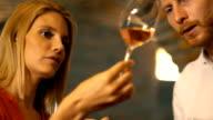 Wine tasting in a wine cellar. video
