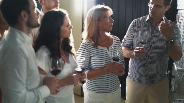 Winetasting in a wine cellar. video