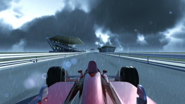 Winning Formula 1 Car On Rainy Day video