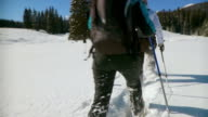 HD: Winter Activity With Snowshoes video