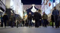 Winter Christmas Shopping Crowds in Dublin Ireland video