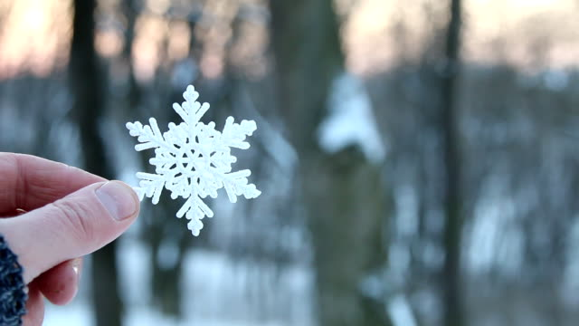 winter concept, hand holding a snowflake, copy space video