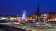 Winter festival in old town Edinburgh at night, Scotland UK video