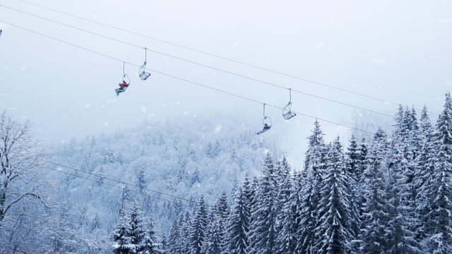 Winter forest snowing ski resort funicular video