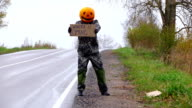 Winter is coming - hitchhiking sign from pumpkinhead tramp video