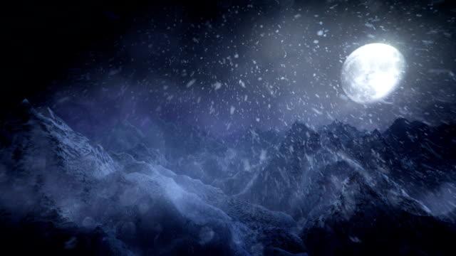 Winter landscape (tracking shot, night) - Loop video