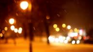 winter landscape of city park at night video