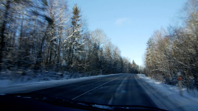 Winter landscape with the road the forest and the blue sky, car point of view video