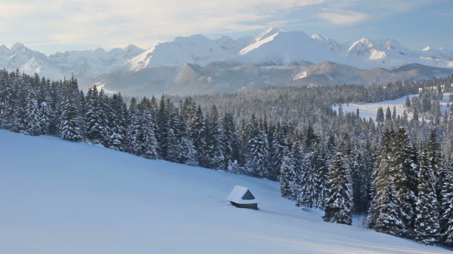 Winter morning view of the Tatra Mountains, Poland video