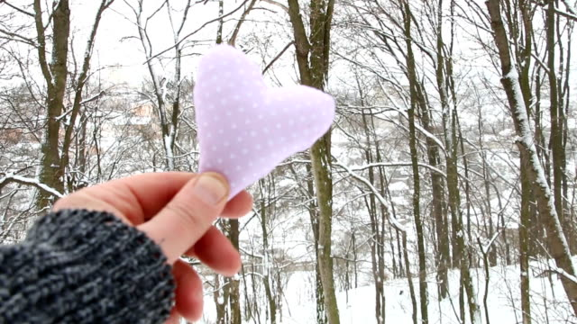 Winter or love idea. Hand holding a heart on the background of the winter forest. video
