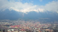 Winter panorama of beautiful European city and mountains covered with snow video