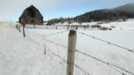 Winter Ranch Barn dolly shot video