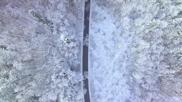 Winter road - birds view video