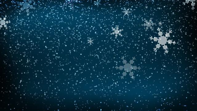 Winter Snow Falling on Blue video