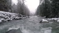 Winter Snow Flakes Falling on Drone in Slow Motion Flying Low Over Mountain Forest River Rapids video