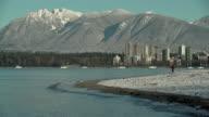 Winter Snow, Kitsilano Beach, Vancouver 4K UHD video