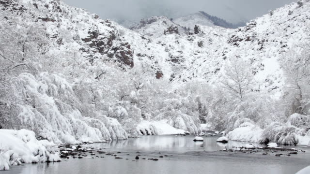 Winter snow South Platte River Wateron Canyon mountains Colorado video