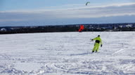 Winter snowkiting on the field video
