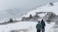 Winter snowshoe couple hike snowy Red Rocks Park Morrison Colorado video
