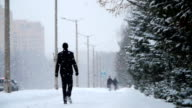 Winter street with people video