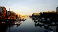 Winter view of a marina in Trondheim video