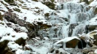 Winter waterfalls in the mountains video