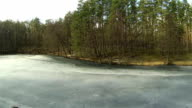 winter wood with frozen lake. Aerial video