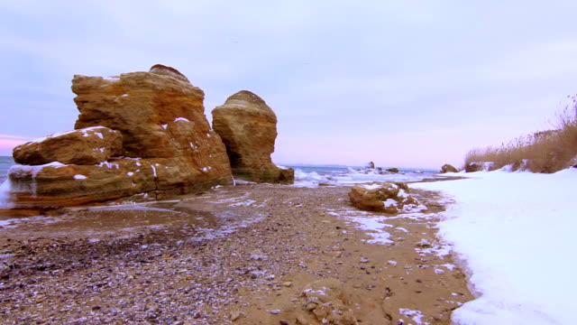 Winter,Sea coast with Snow and Ice video