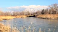 Wintertime sunset river timelapse video