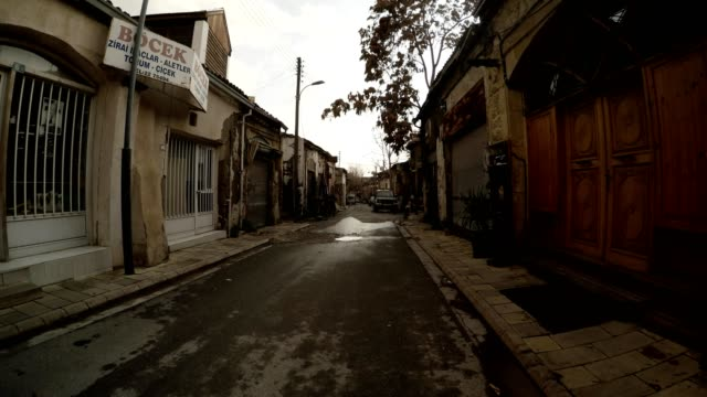 Wintry View on Empty Old Street in Centre of Nicosia video