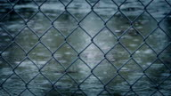 Wire Fence In Rainfall video