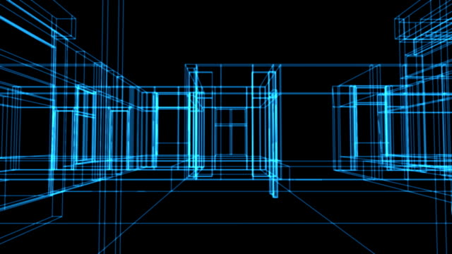 Wire frame house as animated blue print - HD video