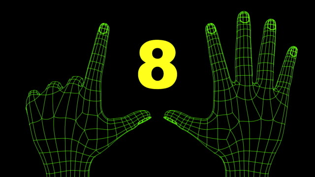 wireframe futuristic hands ten seconds countdown video