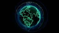 Wireframe Globe. loops seamlessly. Plexus Abstract Background, Slow Rotating Full HD video