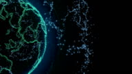 Wireframe Globe. loops seamlessly. Plexus Abstract Background, Slow Rotating video