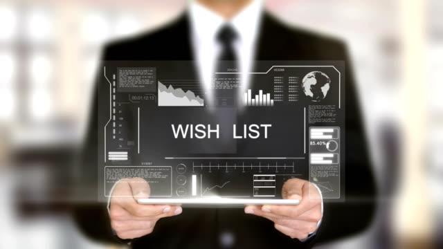Wish List, Hologram Futuristic Interface, Augmented Virtual Reality video