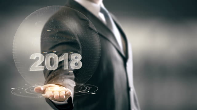 2018 With Bulb Concept Businessman Holding in Hand New technologies video